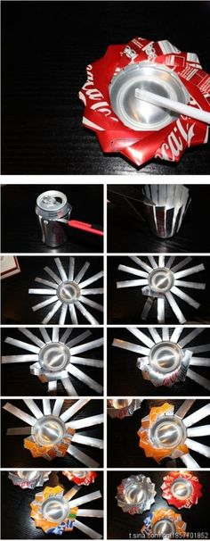 popelnik z plechovky - cigarette ashtray, coin catcher, reflective flower for mobile... good example of origami with aluminum can