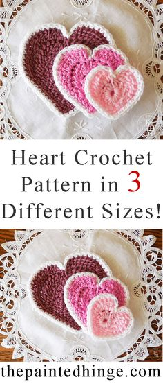 Easy heart crochet patterns in 3 different sizes! Free patterns!
