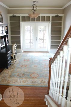 Would love to do built-ins (not necessarily IKEA like these are) around the glass door in the playroom.