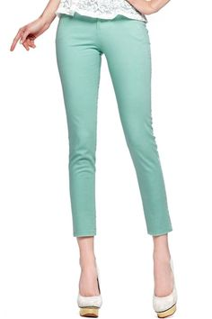 #ROMWE Buttoned Soild Color Green Pants
