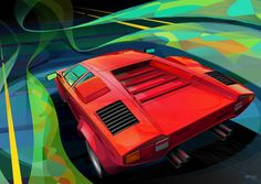 Lamborghini Countach S In adobe Illustrator and Photoshop Classic Motors, Classic Cars, Dog Car Accessories, Bike Illustration, Mechanical Art, Car Upholstery, Car Design Sketch, New Bmw, Car Drawings