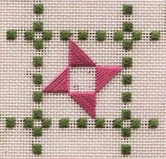 A new Mini Mystery ornament--free needlepoint chart--is getting started on Two-Handed Stitcher Hardanger Embroidery, Cross Stitch Embroidery, Embroidery Patterns, Hand Embroidery, Doily Patterns, Dress Patterns, Bargello Needlepoint, Needlepoint Stitches, Needlework