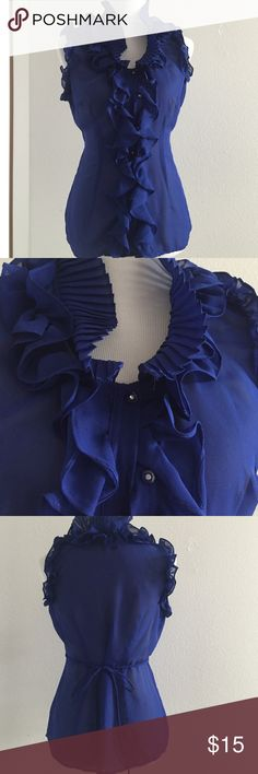 Blue Ruffle tank Beautiful royal blue size medium twenty one ruffle front button down. Buttons have crystals on them. Ties in back, see small black spot Forever 21 Tops Tank Tops
