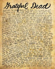 The Grateful Dead Lyrics and Quotes - 8x10 handdrawn and handlettered print on antiqued paper rock music lyrics by mollymattin on Etsy
