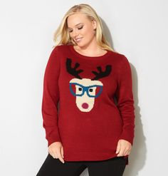 a0dc6ba700c Get ready for your sweater parties with our fun plus size Hipster Reindeer  Holiday Sweater available