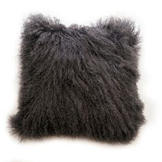Dark Grey Real Mongolian Lamb Fur Cushion Cover from GlamorousJILL by DaWanda.com