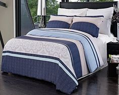 Modern Blue Striped Microfiber Mens Boys Duvet Comforter Cover and Shams Set  - Boys bedding with nice blue accents #microfiber bedding