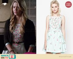 Ali's mint green floral embellished dress on Pretty Little Liars.  Outfit Details: http://wornontv.net/35915/ #PLL