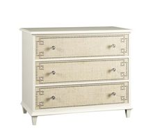 HIGHLAND HOUSE - HH25-703-AS Barclay Butera Wood Marlene Drawer Chest - Cream paint finish. Brushed nickel pulls and nailhead trim. Three drawers with raffia fronts.     W: 46 in    D: 20 in    H: 34 in