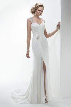 2014 Wedding Dress Off The Shoulder Sheath/Column Beaded And Ruffled With Slit Chiffon