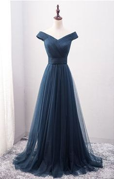 c2200067b274 New Arrival A-Line Off-Shoulder Navy Blue Tulle Long Prom Dress
