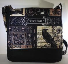 be6b78acdcd7 Nevermore Edgar Allan Poe crossbody purse raven by PenguinPouches Snap Bag,  Gothic Crosses, Skull