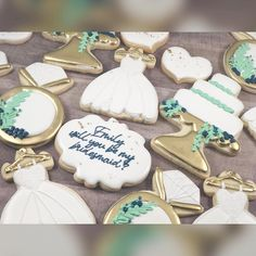 "Jessica on Instagram: ""💍 Proposing to your bridesmaids in the sweetest way!!"" Decorated Cookies, Cake Cookies, Cookie Decorating, Bridesmaids, Baking, Sweet, Desserts, Instagram, Food"
