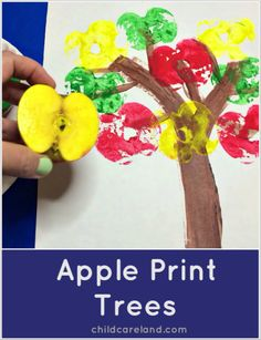 Apple Print Trees (from Childcareland) Preschool Apple Activities, Preschool Apple Theme, Fall Preschool, Apple Crafts For Preschoolers, Preschool Projects, Preschool Themes, Preschool Printables, Back To School Crafts, Daycare Crafts