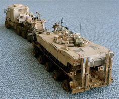 The Great Canadian Model Builders Web Page!: Truck Tractor & Heavy Equipment Transporter Semi-Trailer With Abrams Panther II Ho Scale Buildings, Ho Scale Trains, Army Vehicles, Armored Vehicles, Oshkosh M1070, M1 Abrams, Hobbies For Men, Canadian Models, Semi Trailer