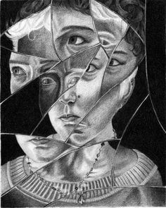 Fractured portrait - use for value study or color schemes in various sections