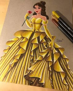 Belle in her new and beautiful sparkling golden yellow dress with her red rose