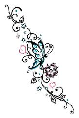 Vektor: Ranke, Blumen, Tattoo, Tribal, türkis, rosa