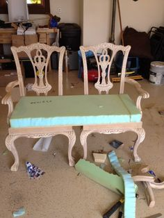 How to make a bench from two chippendale chairs Chairs repurposed into bench settee, loveseat. Refurbished Furniture, Repurposed Furniture, Furniture Makeover, Painted Furniture, Dining Chair Makeover, Ikea Chair, Chair Bench, Diy Chair, Chair Upcycle