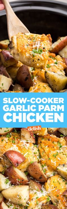 This slow-cooker garlic parmesan chicken is one of our best dinners ever. Get the recipe on Delish.com.