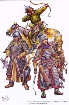 13th century. Mongol soldiers