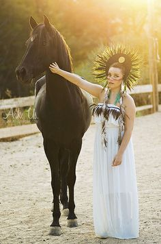 Amerindien X Horse and a young woman www.arkuswork.com More on : https://www.facebook.com/pages/Ark-Us-/115025235174714