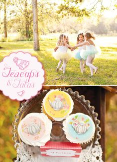 {Teacups & Tutus} Delightful Girls Tea Party with dainty lace details, floral fabric chair backs, teapot cupcake toppers, tea time signs & gum ball necklaces. Girls Tea Party, Princess Tea Party, Tea Party Birthday, 4th Birthday Parties, Girl Birthday, Tea Parties, Birthday Ideas, Tutu Party, Childrens Party