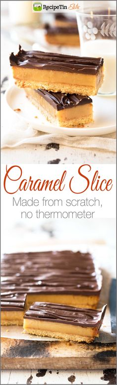 Chocolate Caramel Slice - Learn the secret to a perfect soft set caramel filling WITHOUT using a thermometer.Chocolate Caramel Slice - Learn the secret to a perfect soft set caramel filling WITHOUT using a thermometer. Caramel Recipes, Candy Recipes, Baking Recipes, Sweet Recipes, Dessert Recipes, Easy Caramel Slice, Chocolate Caramel Slice, Caramel Squares Recipe, Easy Slice