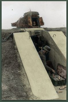 """demdeutschenvolke: """"German Panzerturm emplacement on the Eastern Front. The turret is a Renault FT Girod turret with a gun. Hundreds of Renault FT Light Tanks were captured by the Germans after the Fall of France, and many ended up being used as. Panzer Ii, German Uniforms, Military Weapons, Fortification, German Army, D Day, Luftwaffe, Military History, World War Two"""