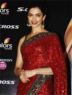 Deepika padukone in maroon  saree looks gorgeous