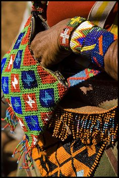 Colorfull beaded Pieces Kalahari tribe, Namibia