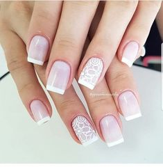 """Wedding Nails """" 15 Passionate Ideas for Inspiration! - Trendy Queen : Leading Magazine for Today's women, Explore daily Fashion, Beauty & Lifestyle Tips Gel Uv Nails, Toe Nails, Wedding Day Makeup, Wedding Nails, French Manicure Short Nails, Red Toenails, Bridal Nail Art, Bride Nails, Nail Decorations"""