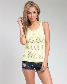 Yellow Crocheted Summer Tank Top – Becky's Fashion Boutique