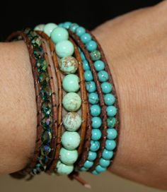 Single Leather Wrap Turquoise Beaded Bracelet by JewelitCouture, $38.00