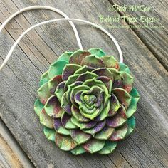 Succulent, Colorful, Polymer Clay, Pendant, Green, Multi-Colored, Hand-Made, Unique Design