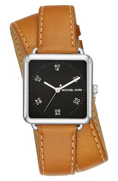 michael kors brenner square leather strap watch