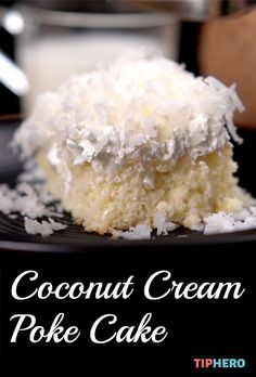 Coconut Cream Poke Cake Recipe Enjoy a bite of this athome escapeonaplate Transform a standard box cake by adding a little coconut and frozen whipped topping for a littl. Poke Cake Recipes, Dessert Recipes, Poke Recipe, Fruit Recipes, Coconut Poke Cakes, Coconut Cake Easy, Coconut Creme Cake Recipe, Just Desserts, Delicious Desserts