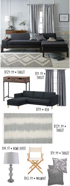 West Elm super modern living room on a budget!