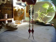 Check out Mismatched Indian Glass, Steel Bead and Brass Barbell Earrings on cherokeedancing