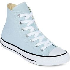 Converse Chuck Taylor Womens High-Top Sneakers ($60) ❤ liked on Polyvore featuring shoes, sneakers, converse shoes, lacing sneakers, unisex sneakers, high top trainers and laced shoes