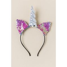 Jeannette Caticorn Sequin Headband - Silver (€12) ❤ liked on Polyvore featuring accessories, hair accessories, headbands, silver, silver cat ears headband, unicorn headband, pink cat ears headband, pink headbands and silver headband
