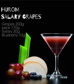 SALARY GRAPES (HOW TO MAKE) 1. Separate the each grape from the cluster. 2. Remove the stem and the seed of the pear and cut them into proper size. 3. Cut the salary about 5cm. 4. Close the control lever and squeeze the pear and then squeeze blueberry, salary, and grapes. 5. When squeeze the last ingredient open the lever to the half-open position to release the pulp. *Please follow the order of squeeze ingredients