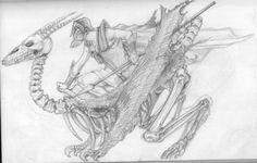 riding a skeleton monster Sketchbook Pages, Skeleton, Illustration, Art, Art Background, Kunst, Skeletons, Illustrations, Performing Arts