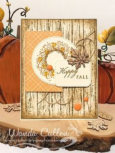 Happy Fall by cullenwr - Cards and Paper Crafts at Splitcoaststampers Diy Thanksgiving Cards, Fall Cards, Holiday Cards, Christmas Cards, Birthday Verses For Cards, Fusion Card, Cards For Friends, Pretty Cards, Halloween Cards