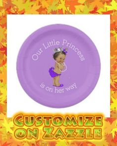 Ethnic Little Princess Baby Shower Lavender Paper Plate Lavender Baby Showers, Baby Shower Purple, Baby Shower Vintage, Gold Baby Showers, Baby Shower Princess, Baby Princess, Little Princess, Baby Shower Balloons, Baby Shower Themes