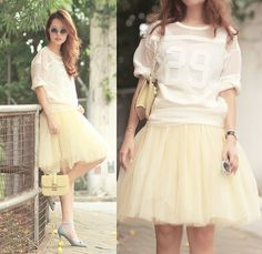 Chic Wish Round Sunnies, Front Row Shop Embroidered Sheer Top, Tutulepetite Cream Tulle Skirt, Amelie Street Sheer Socks, Valentino Bow Heels