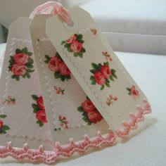 Handmade Gift Tags Vintage Roses and Crochet Edge set by sosorosey
