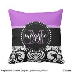 Purple Black Damask Girly Monogram