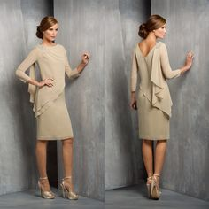 Cheap dresses plus size women, Buy Quality dress drama directly from China dress white dress Suppliers: 2015 Hot Crew Neck Long Sleeve Champagne Chiffon Knee Length Mother Of The