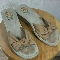"Earth Spirit Wedge Sandals Beige soft leather upper. Nice padded footbed with hard plastic 2"" wedge. Really nice sandal, only worn twice. Lots of wear left in these.r Earth Spirit  Shoes Sandals"